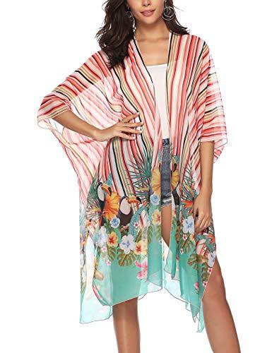 Chunoy Women's Sheer Chiffon Floral Print Sheer Loose Kimono Cardigan Cover Up Striped Flower ()