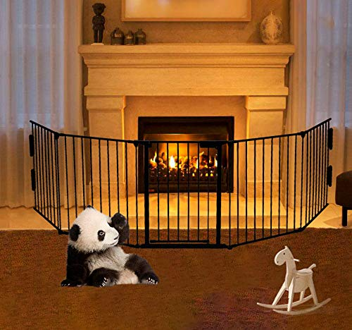 Metal Fire Gate Firplace Safety Fence Pet Gate Dog/Cat Gate Baby Safety Gate Play Yard 5pcs Panels Big One Step Easy Assembly Black