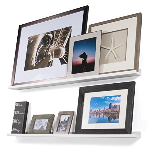 Single Drawers Mounted Flush (Wallniture Denver Modern Floating Wall Mounted Shelves - Pictures Ledge for Frames White 46 Inch Set of 2)