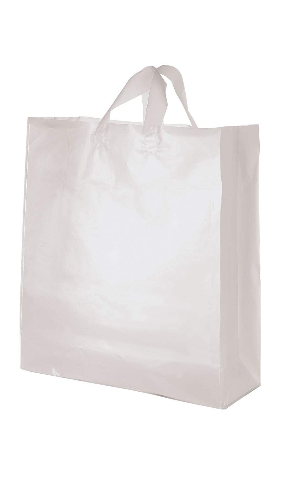 SSWBasics Jumbo Clear Frosted Plastic Shopping Bags - 16'' x 6'' x 19'' - Case of 100