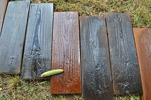 2 Molds Old Wooden Boards Concrete Mould Garden Stepping Stone Path Patio #S05 (Garden Stone Concrete)