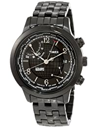 Timex Men's T2N614 Intelligent Quartz Traveller Series World Time Black IP Stainless Steel Bracelet Watch