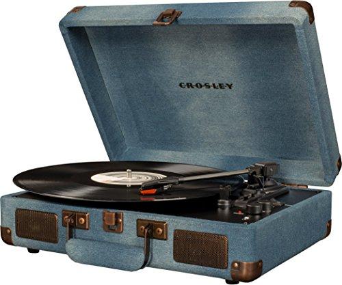 Crosley Cruiser Deluxe Vintage 3-Speed Bluetooth Suitcase Turntable, Denim