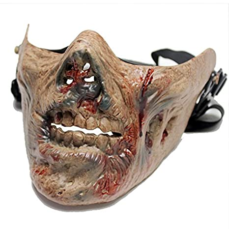 Zombie Skeleton Skull Half Face Tactical Combat Airsoft Ghost Mask for  Movie Prop the Walking Dead Cosplay