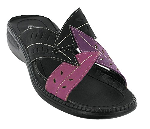 Cushion Walk Womens Open Back Sandal / Mules in Various Colours (Black/Pink --- Black/Blue --- Gold/Pink) - Sabrina black-pink gD5C1l