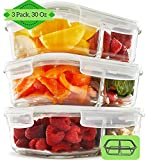 2 Compartment Glass Meal Prep Containers (3, 30 Oz) - Food Storage Containers with Vented Lids | Glass Bento Box Lunch Box for Adults | Leakproof Food Prep Container | Portion Control Food Containers