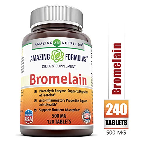 Amazing Nutrition Bromelain Proteolytic Digestive Enzymes Supplements, 500 mg, 120 Tablets