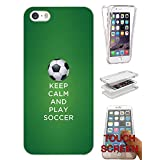002791 - Keep Calm And Play Soccer Football Design iphone 4 4S Fashion Trend CASE Gel Rubber Silicone Complete 360 Degrees Protection Flip Case Cover