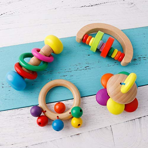 (Baby Love Home Organic Wooden Toys Natural Skwish Rattle Wood Teether Rattles 4pc Montessori Infant Rainbow Bells Baby Ringer Montessori Educational Toy)
