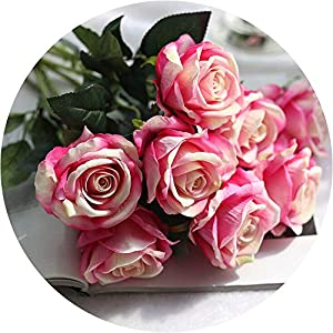Get-in 10 Head Latex Rose Flowers for Wedding Party Home Design Bouquet Decor Multicolor Artificial Flowers Decor for Home,E,United States 52
