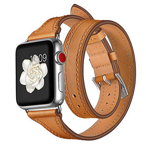 Price comparison product image for Apple Watch 4 Fashion Leather Watch Band, Outsta Double Tour Wrist Strap Accessory Band Replacement Bracelet Smart Watch Band (44mm,  Brown)