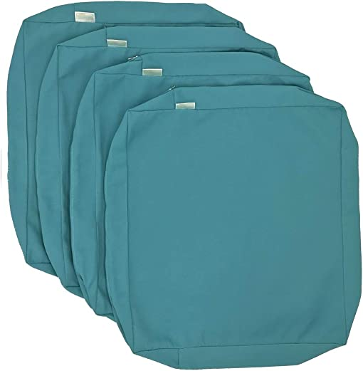 CozyLounge Serenity Teal Outdoor Water Repellent Patio Chair Cushion Seat Pillow Covers 25″x25″x5″ 4 Covers