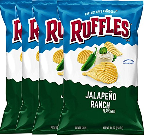 Ruffles Potato Chips Classic Hot Wings Flavored & Ruffles Jalapeno Ranch Potato Chips 8.5 Oz. Bag (Jalapeño ranch, 4)