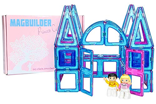(Magbuilders Magnetic Tile Princess Castle and Princess Toys, 62 Piece Toy Set, Pink House or Turqoise Palace, Great Toys for Girls or Boys, Little Kingdom Pretend Play Cinderella Playset or Dollhouse)