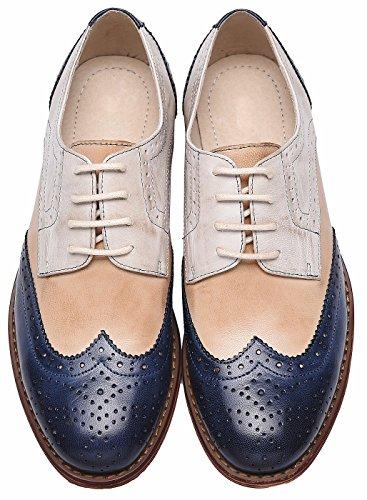 a Scarpe in Pelle Multicolor lupetti per Trapuntata Vintage Oxford Bianco SimpleC Donna blu TWdFwqYT