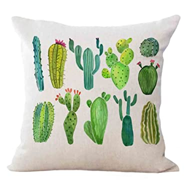 Qinqingo Tropical Succulent Plants Cactus Decorative Cushion Cover Cotton Linen Square Throw Pillow Covers Sofa Car Decoration 18 x 18 Inches (SC04)