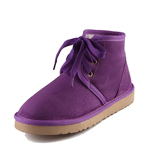 AmoonyFashion Womens Solid Low-Heels Round Closed Toe Imitated Suede Lace-Up Snow-Boots Purple DlTvt