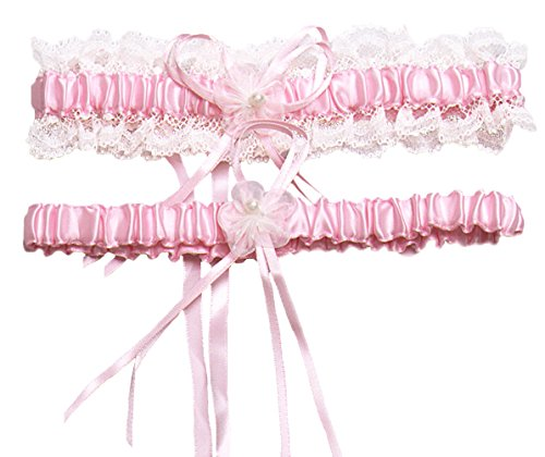 Vivivalue Women Satin Wedding Bridal Bride Pearl Flower Garter Set of 2 for Prom Pink