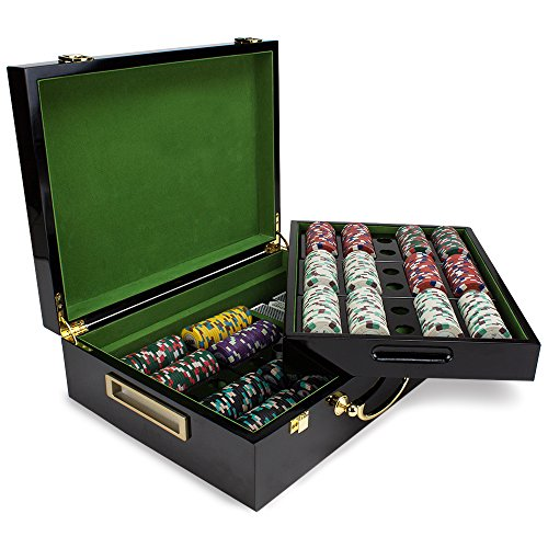 (Claysmith Gaming 500ct Showdown Poker Chip Set in Hi-Gloss Wooden Carry Case, 13.5-Gram Heavyweight Clay Composite)