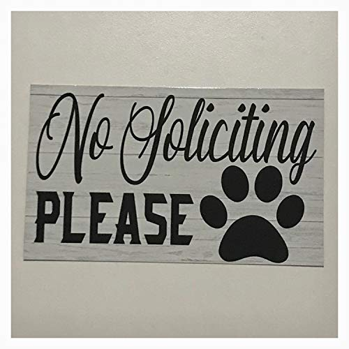 Zora Camp No Soliciting with Paw Print Dog Pet Sign Wall Plaque or Hanging Cottage Bell House Office Business Door Room