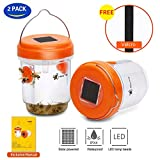 2 Pack 2019 Solar Powered Wasp Trap with UV LED Light | Bee Traps,Yellow Jacket Traps & Wasp Traps for Outdoors,Wasp Killer - Effective and Reusable (Orange)