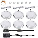 LED Cabinet Puck Lights Dimmable - Moobibear 2W 1020lm Under Cabinet Lighting Kit with 10 Levels Brightness Switch, 3000K Warm White Under Counter Lighting for Kitchen Closet, All Accessories Included