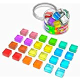 Small Square Magnets Strong - 24 Magnet Colored - Fun Refrigerator Magnets Whiteboard - Mini Glass Board Magnets - Cute Magnets Colorful - Little Fridge Magnets for Adults - Decorative Magnets 15mm