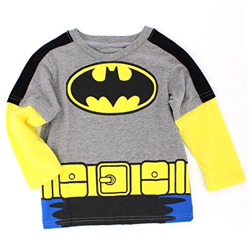 Batman Boys Long Sleeve Tee (2T, Grey/Yellow Batman Costume) (Batman Costumes Cheap)