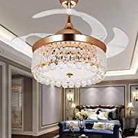 RS Lighting Crystal Gold Ceiling Fans With Lights-42 inch Retractable Blades Remote Flexible Ceiling Fans with LED Lights -for Indoor, Outdoor, Living Room, Bedroom