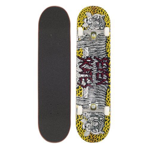 Seven Skate SEVDEKTIGE Skateboard - 7.8 Inches - Grey / Yellow - Tiger Motif