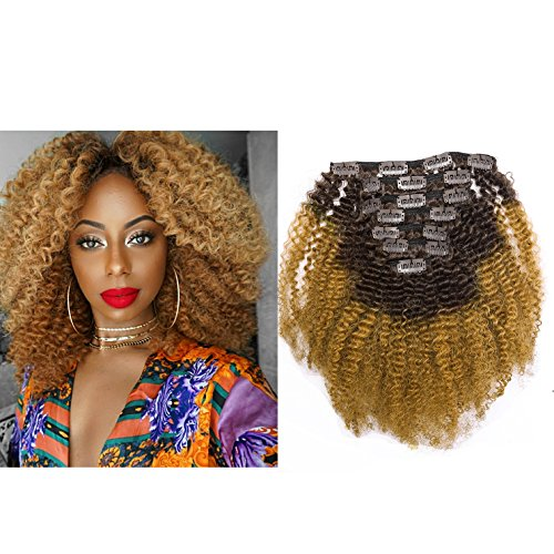 Ombre Remy Clip in Human Hair Extensions Afro Kinky Curly 4B 4C 100% Natural Black Hair Extensions 10-22 inch Two Tone T#1B/27 Strawberry Blonde Full Head (20 inch, Ombre #1B/27 AC)