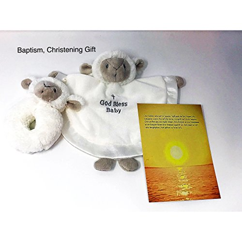 - Baptism Gift, Christening, or Confirmation Keepsake Gifts for Boy or Girl - God Bless Baby Serenity Lamb Blanket and Rattle Religious Gift Set - Includes Bonus Lord's Prayer Card with Sunset