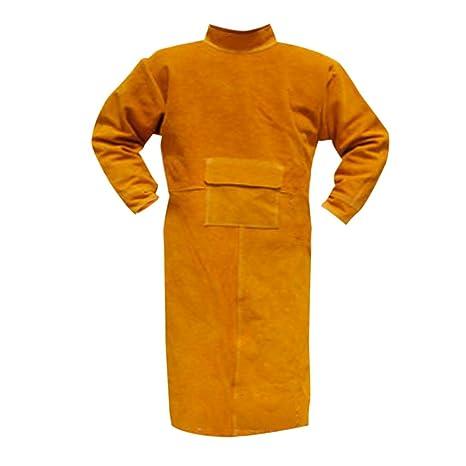 FLAMEER Soldadura Protectora Abrigo Delantal Soldador Ropa Seguridad Trabajo Traje Azul/Naranja - Naranja,