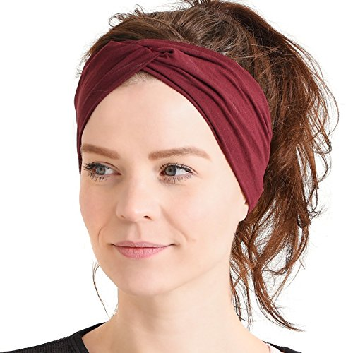 Womens Headband Running Bandana - Mens Workout Elastic Head Sweat Hair Band Sports Yoga Turban Maroon