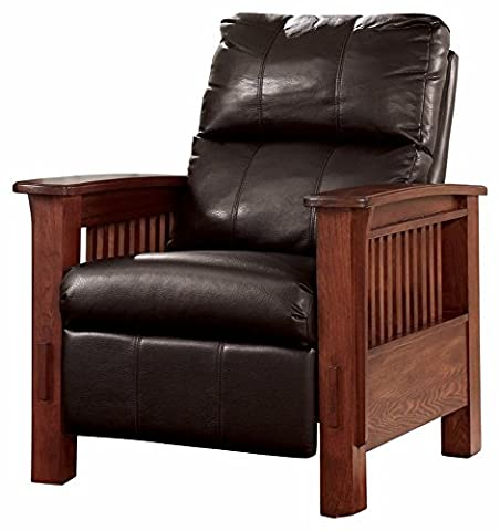 Ashley Furniture Signature Design - Santa Fe Recliner - Manual Reclining Chair - Chocolate Brown - Mission Style Corner