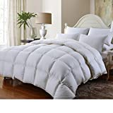 Grandeur Linen's Full Size Luxurious 1000 Thread Count Siberian GOOSE DOWN Comforter, 100% Egyptian Cotton Cover, Solid White Color, 750 Fill Power, 50 Oz Fill Weight