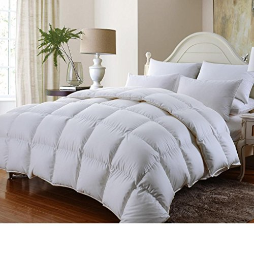 (Grandeur Linen's Queen Size Luxurious 1000 Thread Count Siberian GOOSE DOWN Comforter, 100% Egyptian Cotton Cover, Solid White Color, 750 Fill Power, 50 Oz Fill Weight )