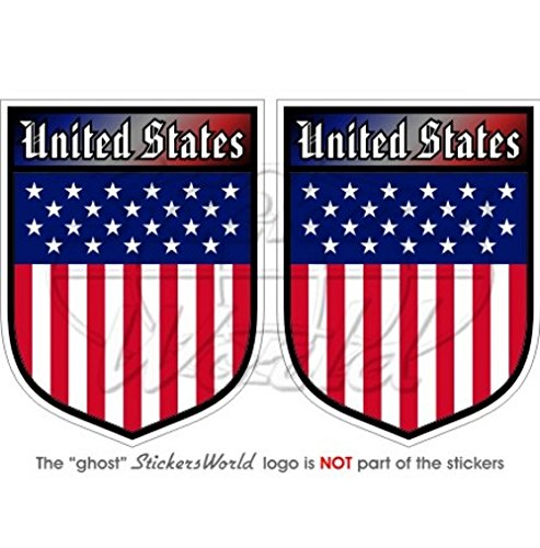 United States of America USA US Bouclier amé ricain 75  mm (7,6  cm) Bumper en vinyle autocollants, Stickers x2 6 cm) Bumper en vinyle autocollants StickersWorld