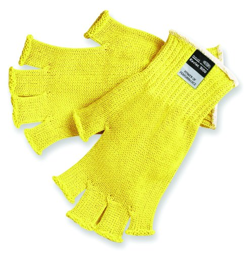 - MCR Safety 9373L Kevlar Regular Weight 7 Gauge Fingerless Gloves, Yellow, Large, 1-Pair
