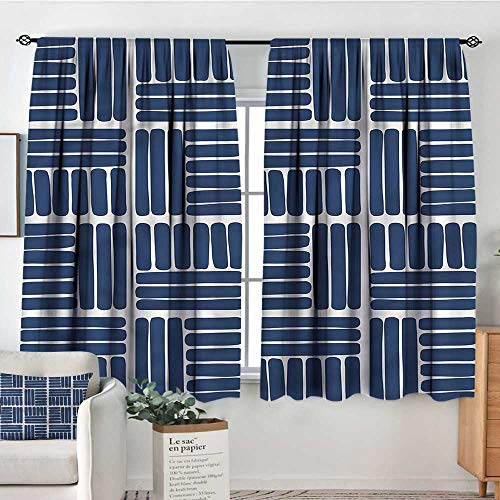 Indigo,Backout Boy Curtains Stripes in Squares 72