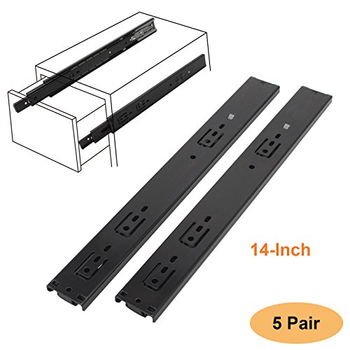 Gobrico Black Ball Bearing Full Ext. Drawer Slides 14 Inch Soft Closing/100-Pound Capacity/3 Fold/Side Mounted 5Pair(10Piece)