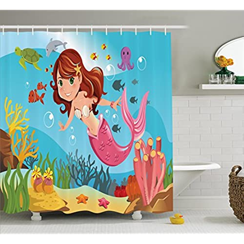 Ambesonne Little Mermaid Shower Curtain Set, Mermaid Swimming Underwater In  The Ocean Smiles Kids Girls Room Decor, Bathroom Accessories, 69W X 70L  Inches, ...