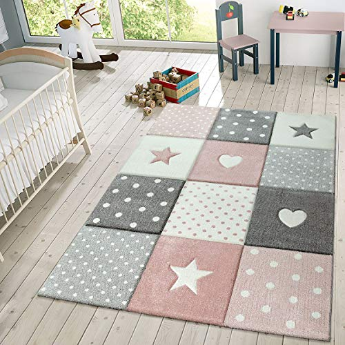Children's Rug Pastel Colours Checked Dots Hearts Stars White Grey Pink, Size:160x230 cm ()