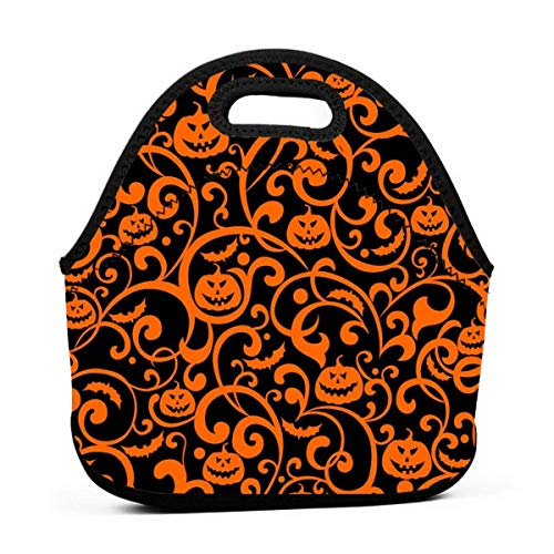 Jake Fashion Shop Lunch Bag Pumpkin Orange Texture Insulated Reusable Lunch Box Portable Lunch Tote Bag Meal Bag Ice Pack for Kids Boys Girls Adult Men Women]()