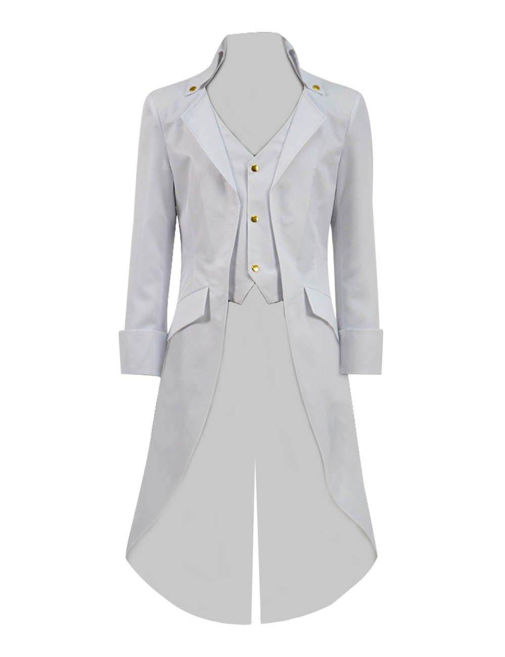 Very Last Shop Boys Gothic Tailcoat Jacket Black Steampunk Victorian Long Coat Vampire Costume (White, 8)