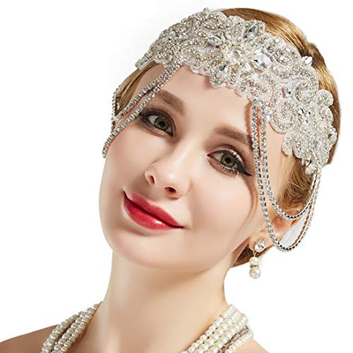 BABEYOND Flapper Headband Roaring 20s Bridal Headpiece 1920s Great Gatsby Accessory with Rhinestones Chain for 1920s Themed Wedding Costume -