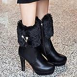 Kauneus Womens Classic Rhinestone Plush Ankle Boots Stiletto Platform Mid Calf Boots Warm Winter Boots Black