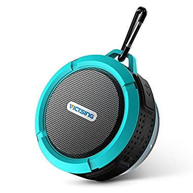 VicTsing Bluetooth 3.0 Wireless Waterproof 5W Shower Speaker with Mic and Removable Suction Cup (Blue)