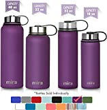 MIRA 22 Oz Stainless Steel Vacuum Insulated Wide Mouth Water Bottle | Thermos Keeps Cold for 24 hours, Hot for 12 hours | Double Wall Powder Coated Travel Flask | Iris