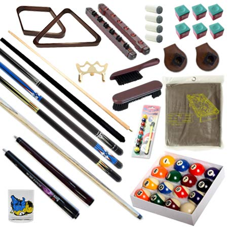 Pool Table - Premium Billiard 32 Pieces Accessory Kit - Pool Cue Sticks Bridge Ball Sets (Kit-9)